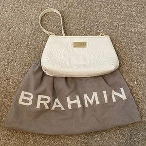 Brahmin White Crocodile-Embossed Purse